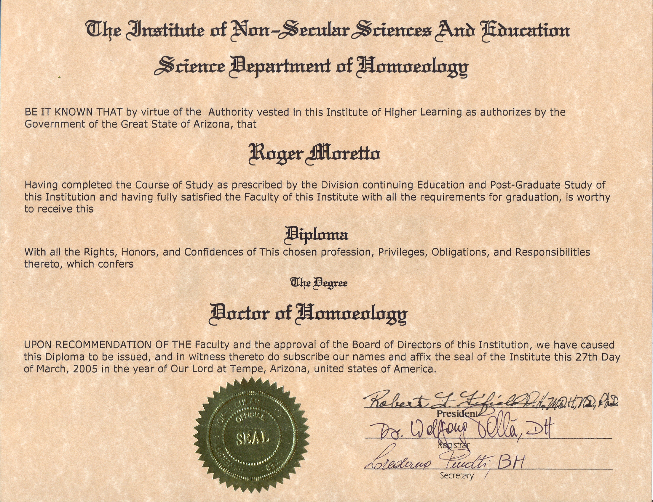 Roger Moretto Diploma science department of homoeology
